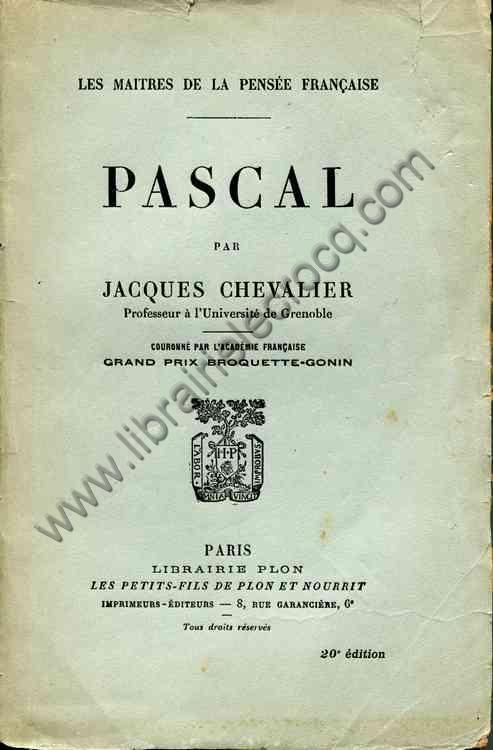 CHEVALIER Jacques, Pascal