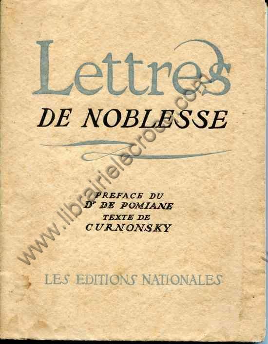 CURNONSKY  .  Lettres de noblesse . Préface par le ...