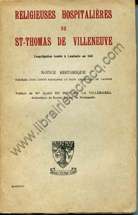 DU BOIS DE LA VILLERABEL Mgr André, Religieuses hos...