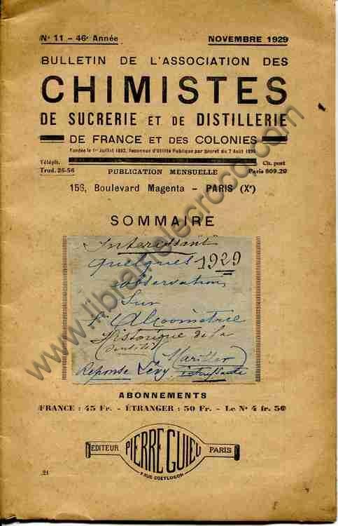 MARILLER C., Quelques observations sur l'alcoométri...