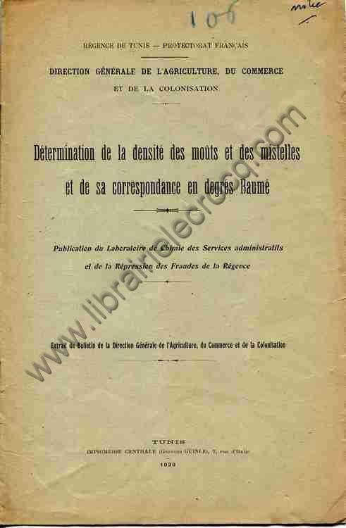 REGENCE DE TUNIS. LABORATOIRE DE CHIMIE , Détermina...