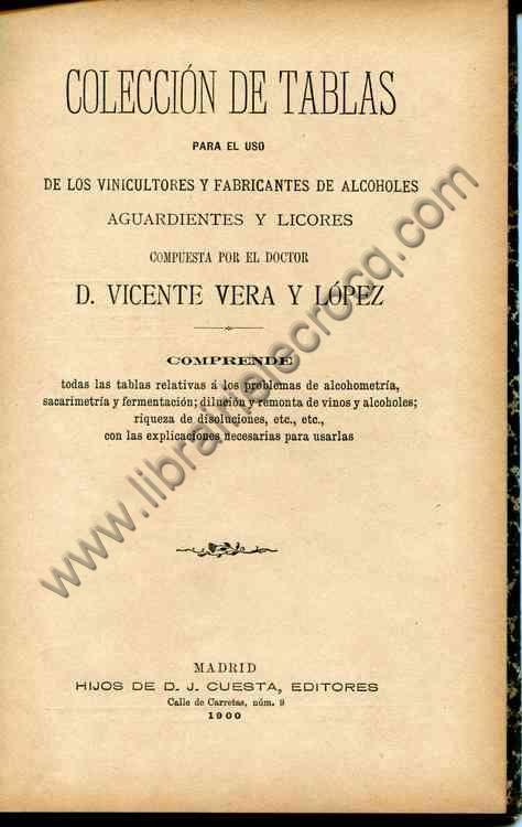 VERA Y LOPEZ D. Vincente, Coleccion de tablas para e...