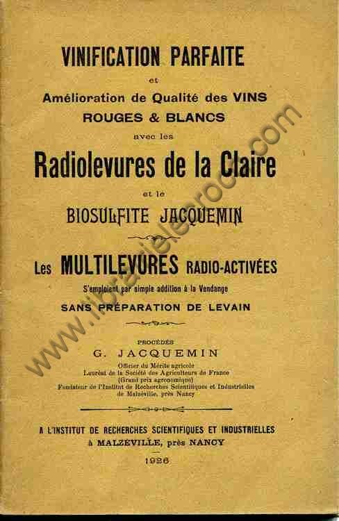 JACQUEMIN G. .  Vinification parfaite et améliorati...