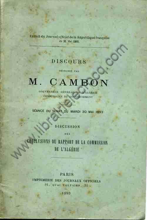CAMBON , Discours prononcé par M. Cambon, Gouverneu...
