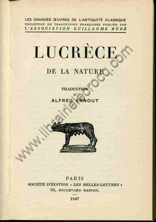 LUCRECE  De la nature Traduction d'Alfred Ernout