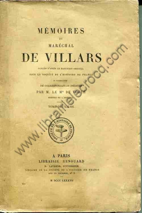 DE VILLARS , Mémoires du maréchal de Villars publi...
