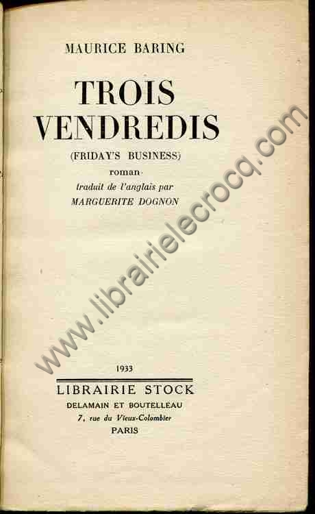 BARING Maurice, Trois vendredis (Friday's business) ...