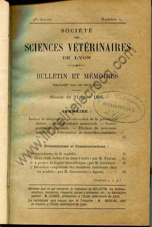 Bulletin et Mémoires Société des Sciences Vétér...