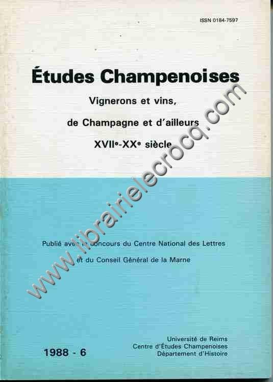 COLLECTIF Etudes Champenoises, Vignerons et vins, de...