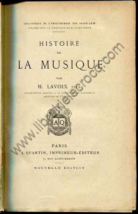 LAVOIX H., Histoire de la musique