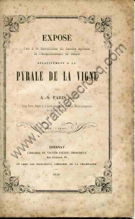 PARIS (A.-S.) père, Exposé fait à la Commission d...
