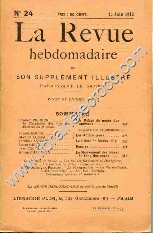 COCTEAU (Jean) La Revue hebdomadaire N°24, 15 juin ...